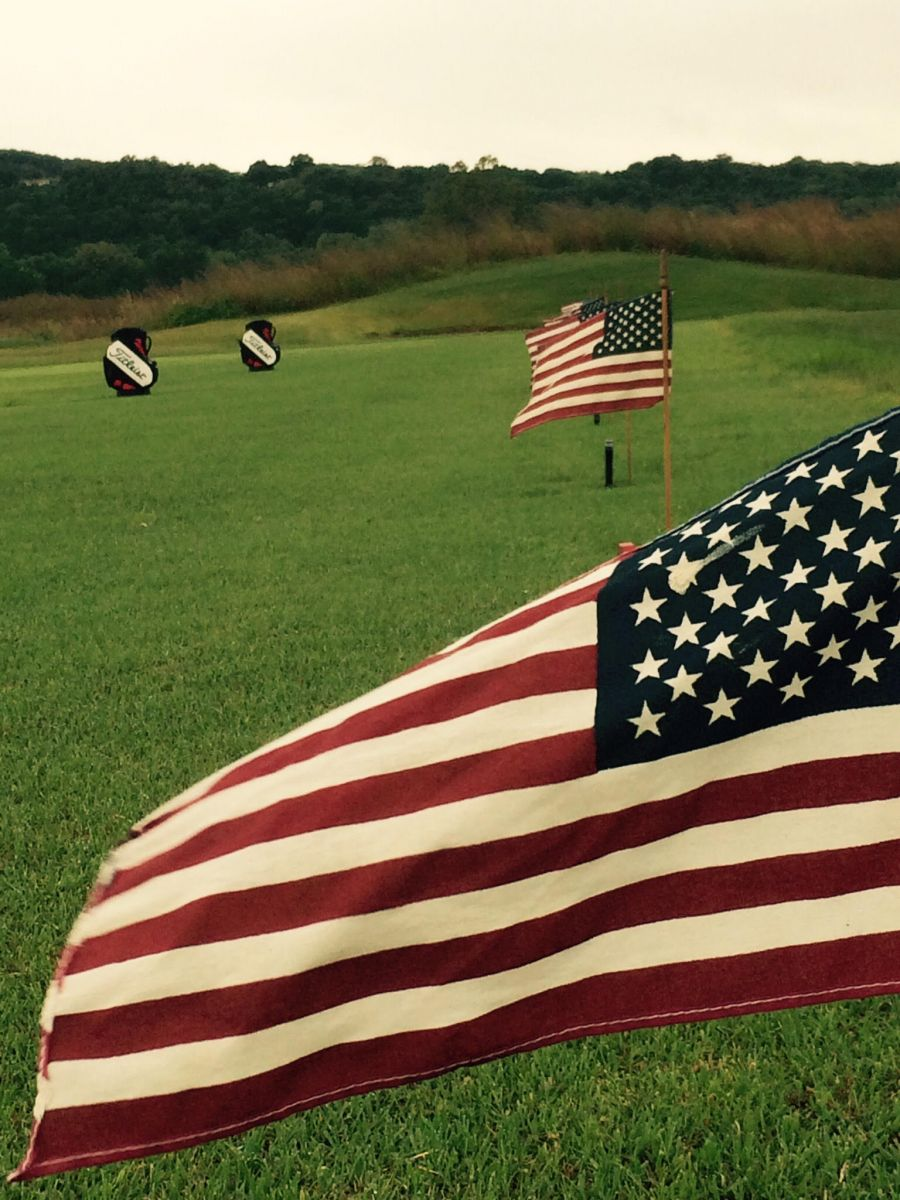 American flags at Aberdeen Golf Club driving range